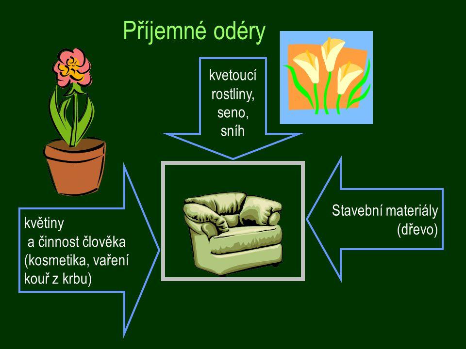 Příjemné odéry květiny a činnost člověka (kosmetika, vaření kouř z krbu) kvetoucí rostliny, seno, sníh Stavební materiály (dřevo)