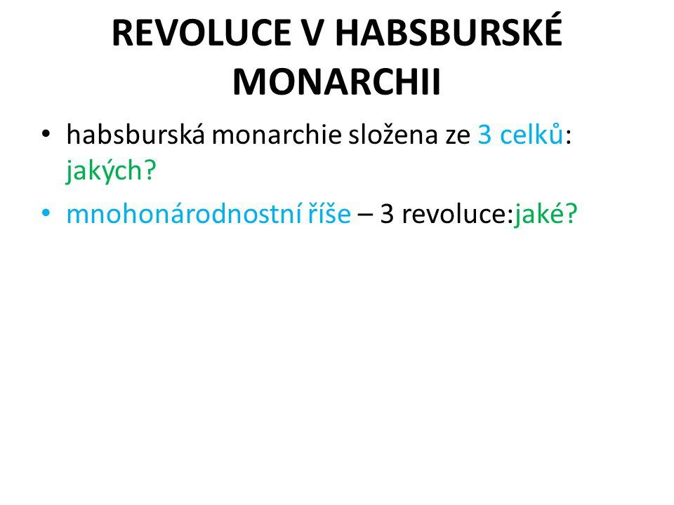 REVOLUCE V HABSBURSKÉ MONARCHII habsburská monarchie složena ze 3 celků: jakých.