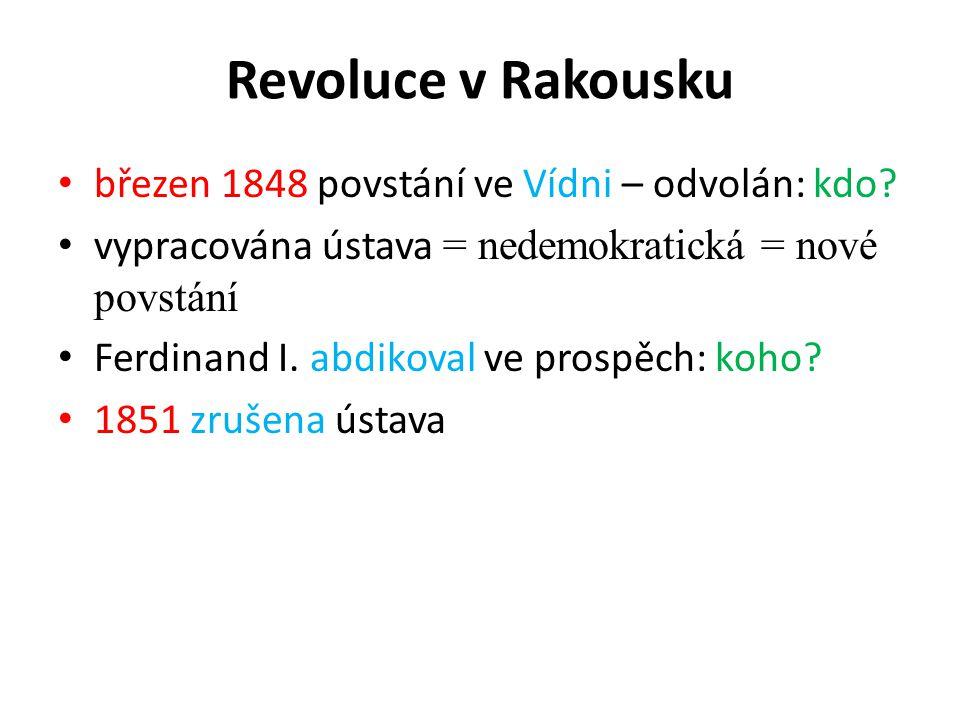 Revoluce v Rakousku březen 1848 povstání ve Vídni – odvolán: kdo.
