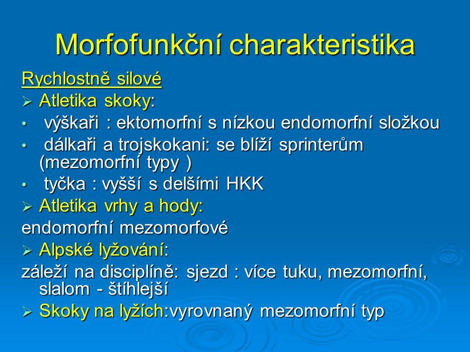 Morfofunkční charakteristika Rychlostně silové  Atletika skoky: výškaři : ektomorfní s nízkou endomorfní složkou výškaři : ektomorfní s nízkou endomo