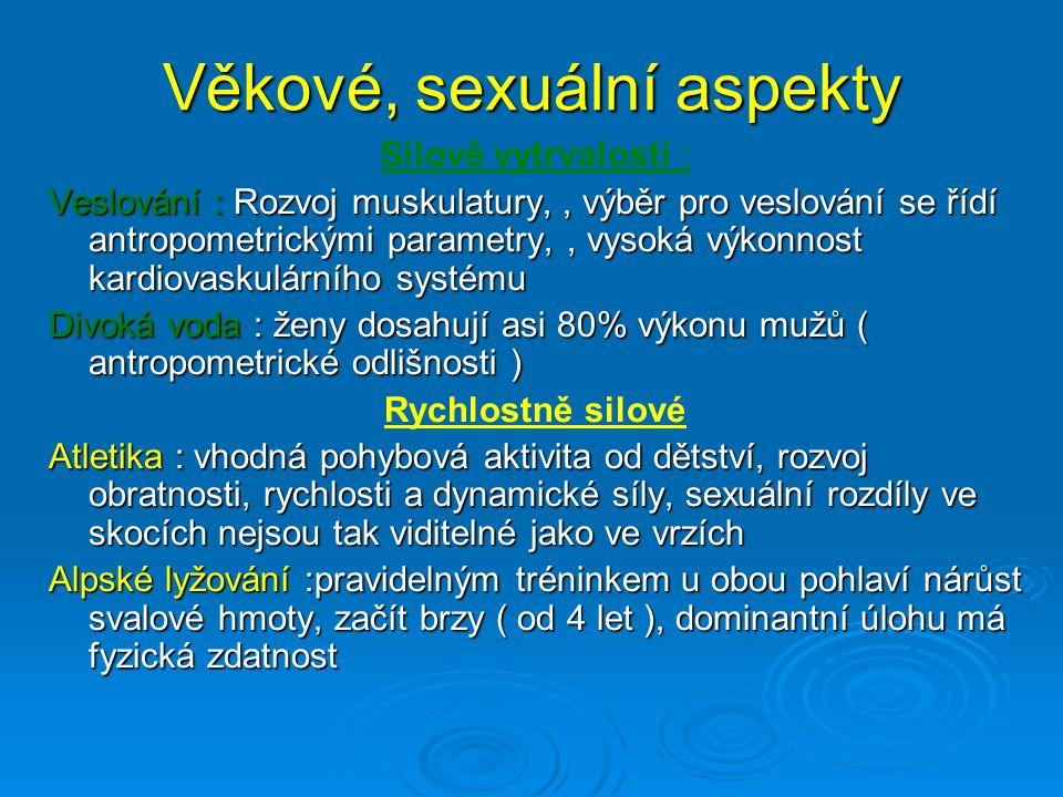 Věkové, sexuální aspekty Silově vytrvalostí : Veslování : Rozvoj muskulatury,, výběr pro veslování se řídí antropometrickými parametry,, vysoká výkonn