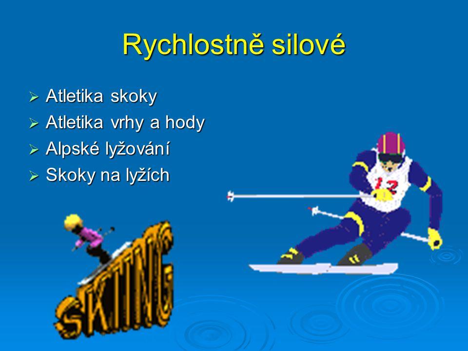 Rychlostně silové  Atletika skoky  Atletika vrhy a hody  Alpské lyžování  Skoky na lyžích