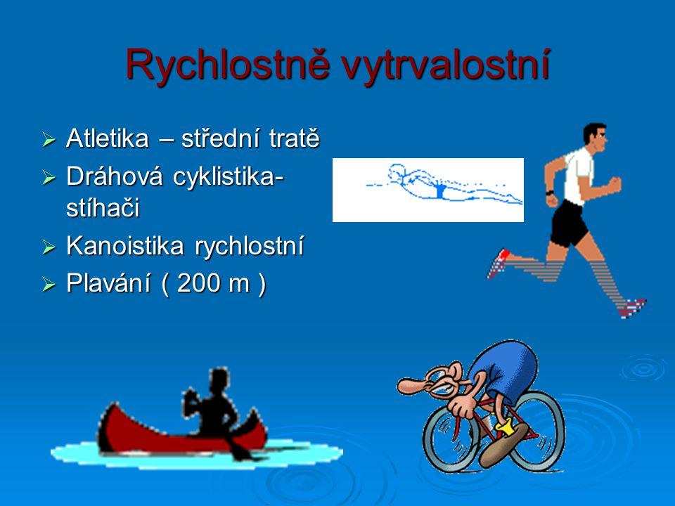 Morfofunkční charakteristika Rychlostně silové  Atletika skoky: výškaři : ektomorfní s nízkou endomorfní složkou výškaři : ektomorfní s nízkou endomorfní složkou dálkaři a trojskokani: se blíží sprinterům (mezomorfní typy ) dálkaři a trojskokani: se blíží sprinterům (mezomorfní typy ) tyčka : vyšší s delšími HKK tyčka : vyšší s delšími HKK  Atletika vrhy a hody: endomorfní mezomorfové  Alpské lyžování: záleží na disciplíně: sjezd : více tuku, mezomorfní, slalom - štíhlejší  Skoky na lyžích:vyrovnaný mezomorfní typ