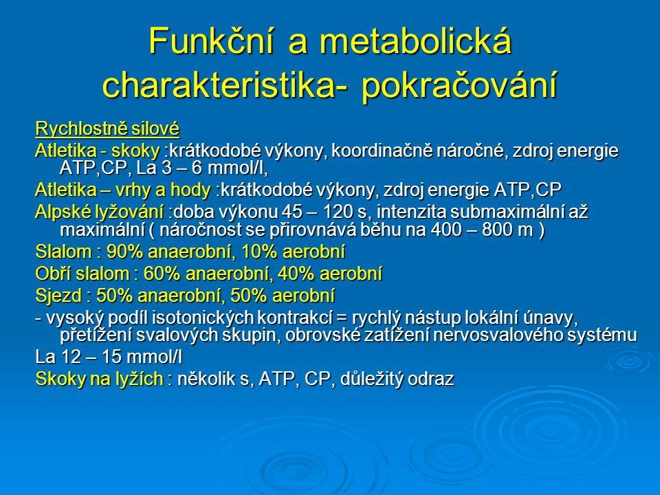Funkční a metabolická charakteristika- pokračování Rychlostně vytrvalostní Atletika střední tratě: submaximální intenzita, La až k 20 mmol/l, anaerobní glykolýza, únavu způsobuje metabolická acidóza, Dráhová cyklistika : stíhací závod : doba výkonu 4 – 5 min( jízdy mužů na 4 km, ženy na 3 km, i družstev ),anaerobní glykolýza + oxidativní způsob Kanoistika rychlostní: ( tratě 500 – 1 km ), 500 m:60% anaerobní, 40% aerobní ( 1:30 – 1:50 min) 1000m: 45% anaerobní a 55% aerobní, La 10 – 14 mmol/l ( 2:55 - 3:55 min) Plavání : 200 m, anaerobní i aerobní krytí, délka výkonu do 3 min