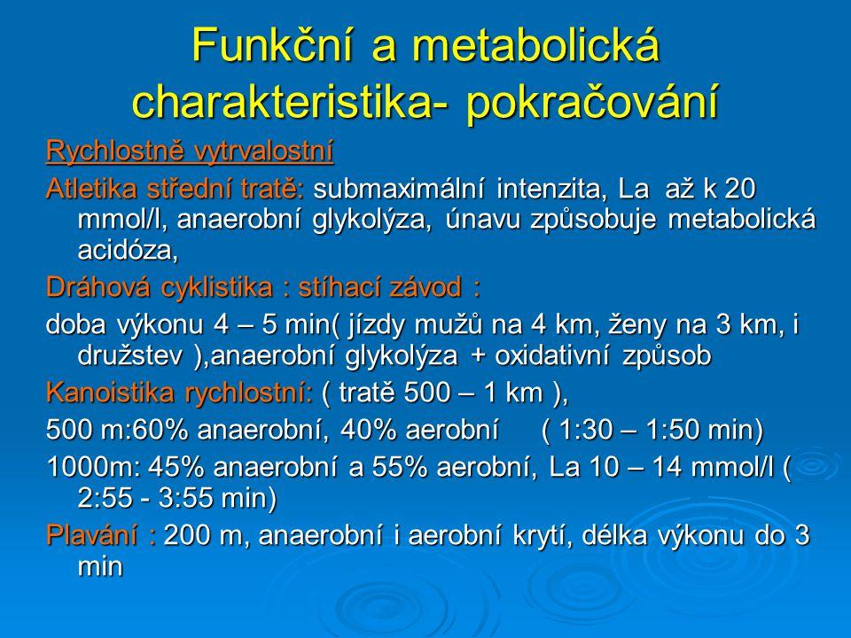 Funkční a metabolická charakteristika- pokračování Rychlostně vytrvalostní Atletika střední tratě: submaximální intenzita, La až k 20 mmol/l, anaerobn