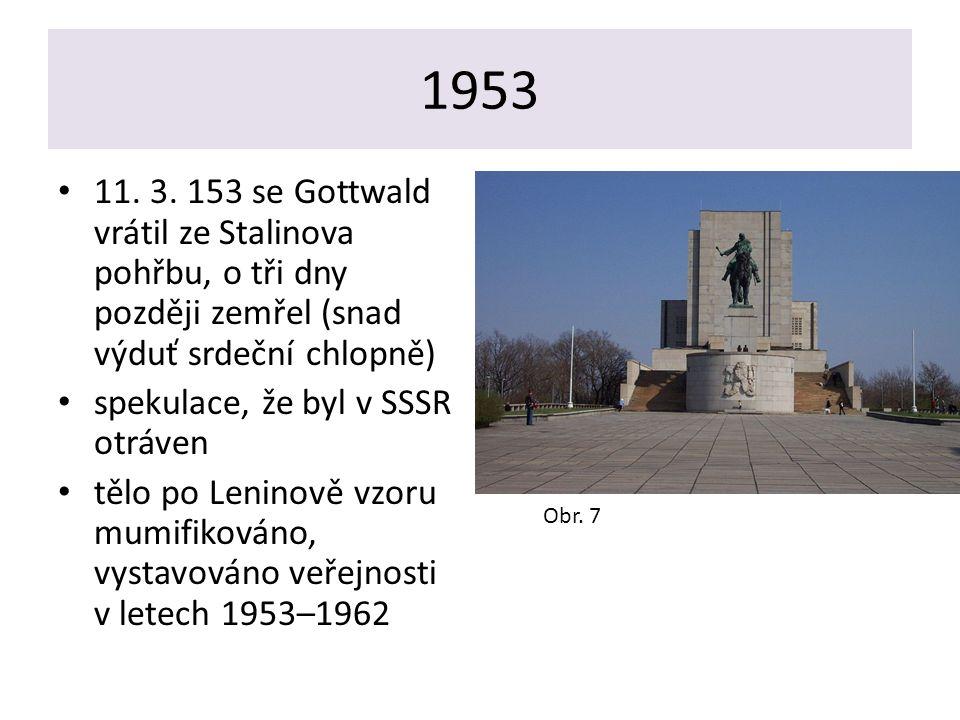 1953 11. 3. 153 se Gottwald vrátil ze Stalinova pohřbu, o tři dny později zemřel (snad výduť srdeční chlopně) spekulace, že byl v SSSR otráven tělo po
