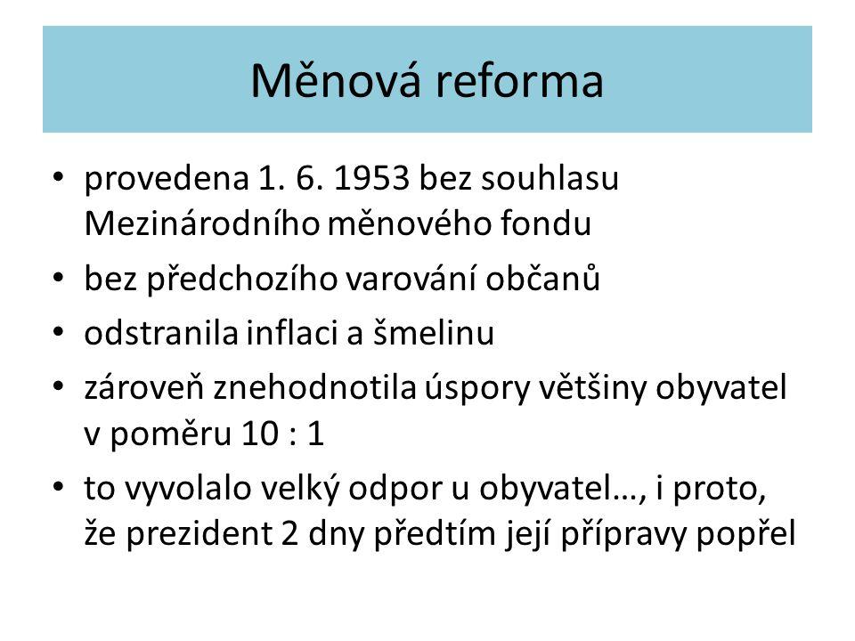 Měnová reforma provedena 1. 6. 1953 bez souhlasu Mezinárodního měnového fondu bez předchozího varování občanů odstranila inflaci a šmelinu zároveň zne