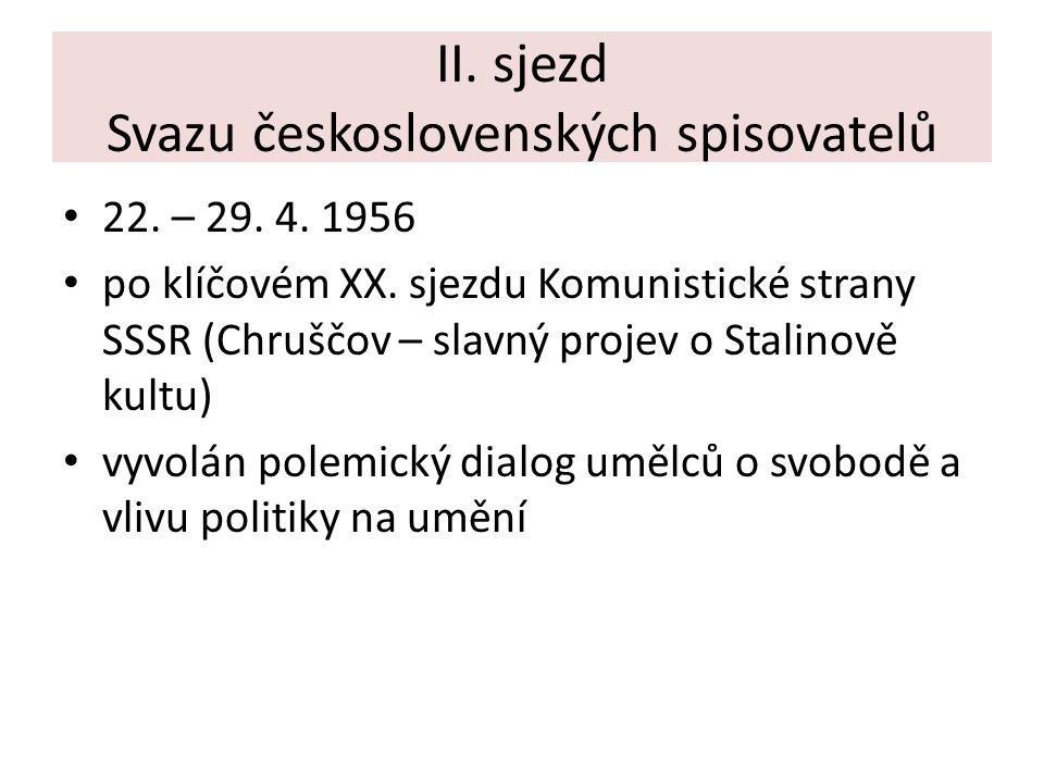 II. sjezd Svazu československých spisovatelů 22. – 29. 4. 1956 po klíčovém XX. sjezdu Komunistické strany SSSR (Chruščov – slavný projev o Stalinově k