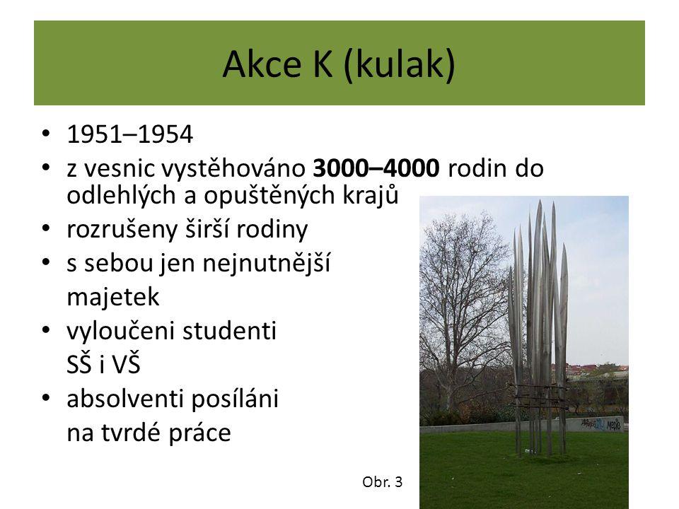 Akce K (kulak) 1951–1954 z vesnic vystěhováno 3000–4000 rodin do odlehlých a opuštěných krajů rozrušeny širší rodiny s sebou jen nejnutnější majetek v