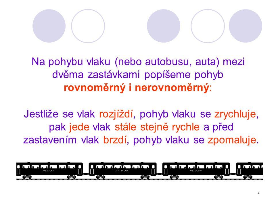 Na pohybu vlaku (nebo autobusu, auta) mezi dvěma zastávkami popíšeme pohyb rovnoměrný i nerovnoměrný: Jestliže se vlak rozjíždí, pohyb vlaku se zrychl