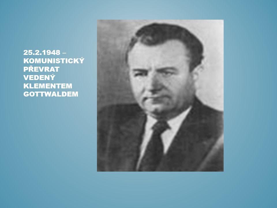 25.2.1948 – KOMUNISTICKÝ PŘEVRAT VEDENÝ KLEMENTEM GOTTWALDEM
