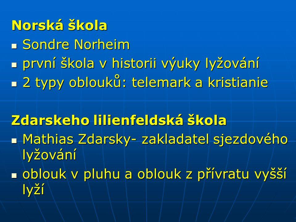 Norská škola Sondre Norheim Sondre Norheim první škola v historii výuky lyžování první škola v historii výuky lyžování 2 typy oblouků: telemark a kris