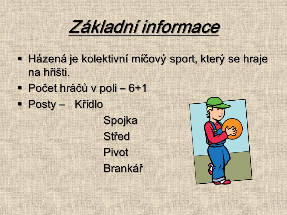 Základní informace  Házená je kolektivní míčový sport, který se hraje na hřišti.