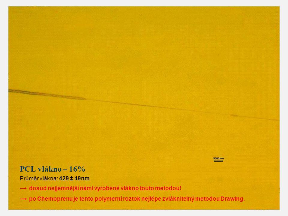 PCL vlákno – 16% Průměr vlákna: 429 ± 49nm → dosud nejjemnější námi vyrobené vlákno touto metodou! → po Chemoprenu je tento polymerní roztok nejlépe z