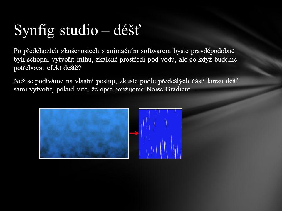 Po předchozích zkušenostech s animačním softwarem byste pravděpodobně byli schopni vytvořit mlhu, zkalené prostředí pod vodu, ale co když budeme potřebovat efekt deště.