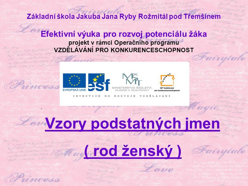 Téma: Vzory podstatných jmen ( rod ženský ) – 4.ročník Použitý software: držitel licence - ZŠ J.