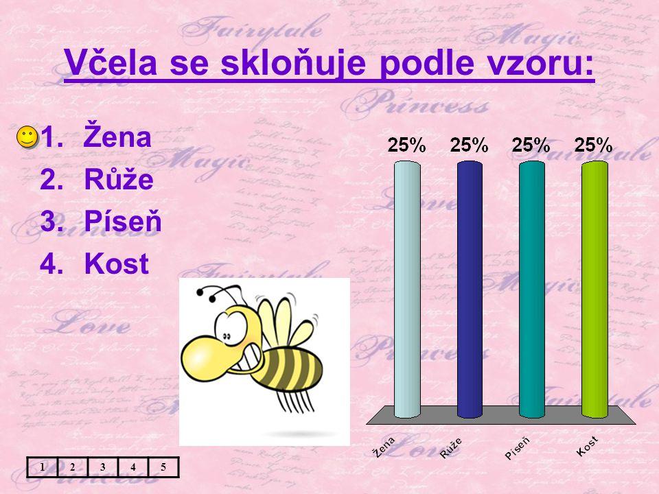 Včela se skloňuje podle vzoru: 1.Žena 2.Růže 3.Píseň 4.Kost 12345