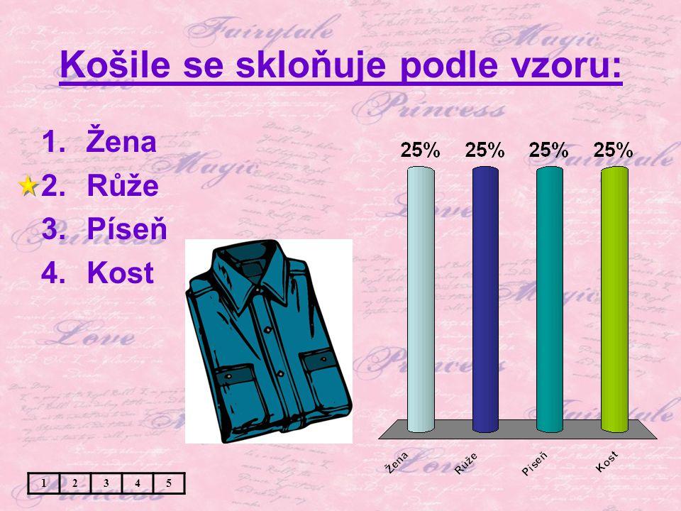 Košile se skloňuje podle vzoru: 1.Žena 2.Růže 3.Píseň 4.Kost 12345