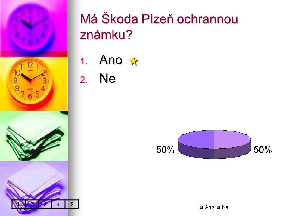 Má Škoda Plzeň ochrannou známku 1. Ano 2. Ne 12345