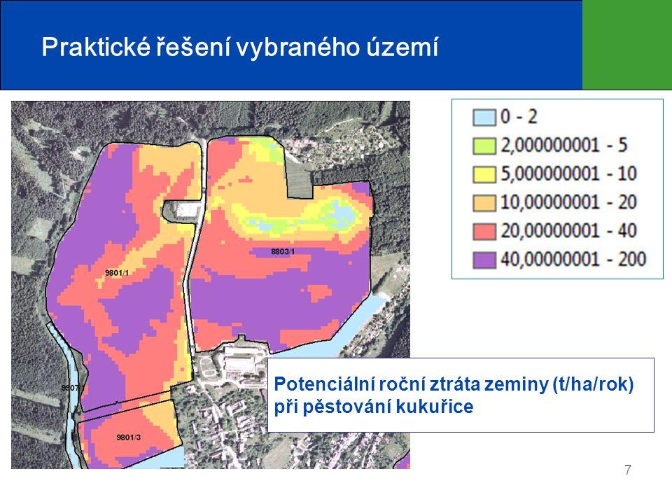 7 Potenciální roční ztráta zeminy (t/ha/rok) při pěstování kukuřice