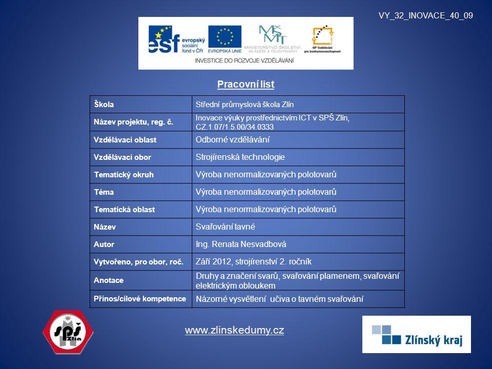 Pracovní list VY_32_INOVACE_40_09 www.zlinskedumy.cz ŠkolaStřední průmyslová škola Zlín Název projektu, reg.