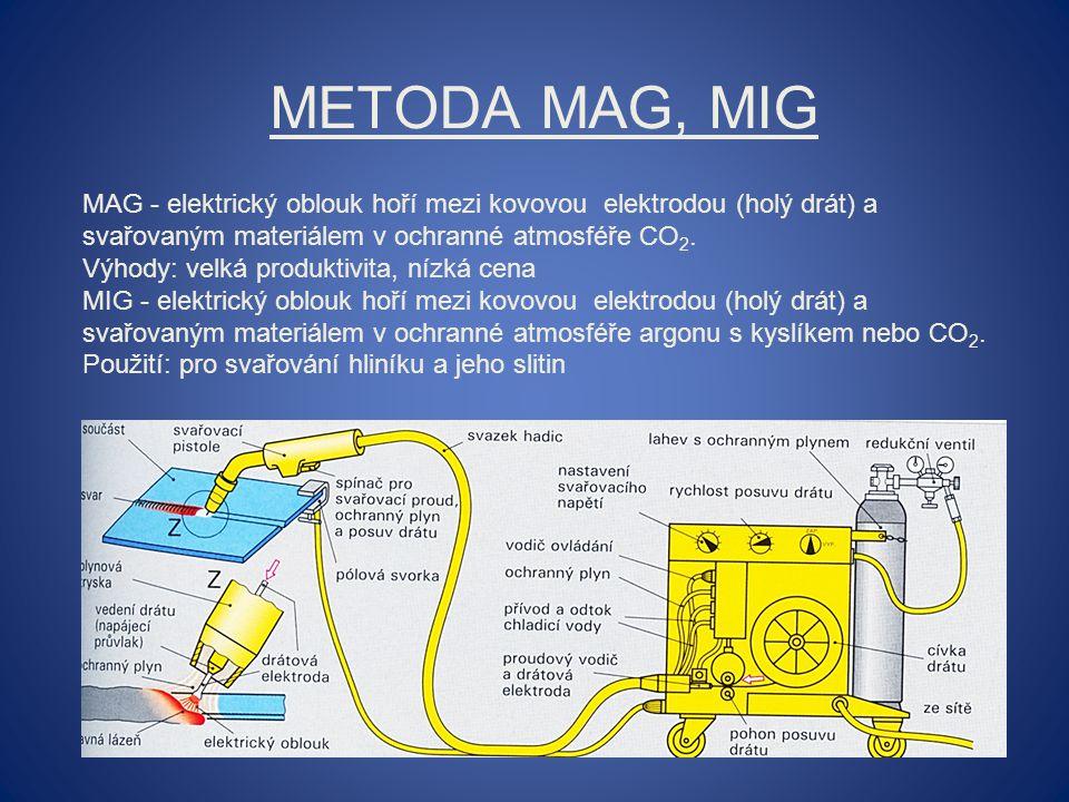 METODA MAG, MIG MAG - elektrický oblouk hoří mezi kovovou elektrodou (holý drát) a svařovaným materiálem v ochranné atmosféře CO 2. Výhody: velká prod