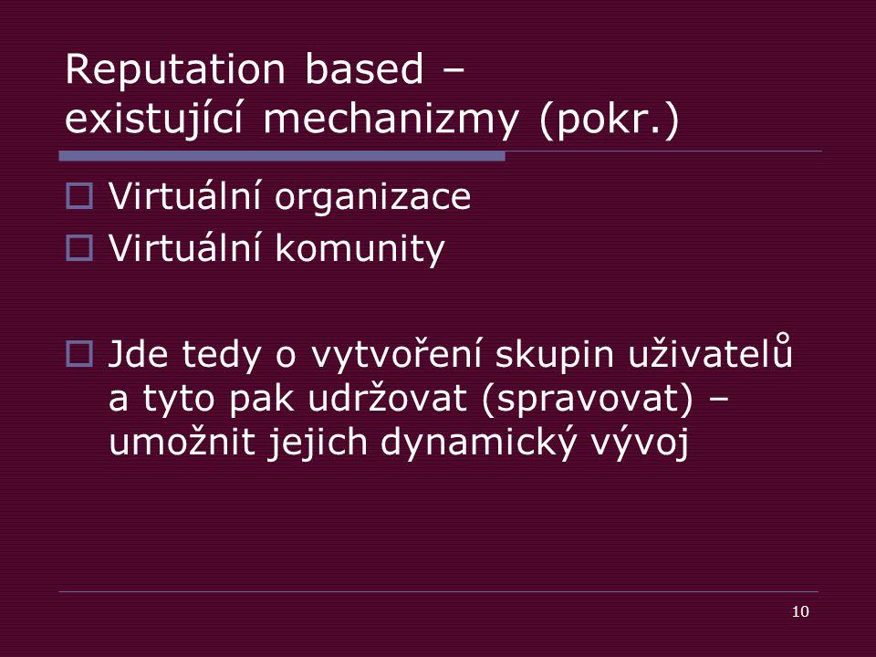 10 Reputation based – existující mechanizmy (pokr.)  Virtuální organizace  Virtuální komunity  Jde tedy o vytvoření skupin uživatelů a tyto pak udržovat (spravovat) – umožnit jejich dynamický vývoj