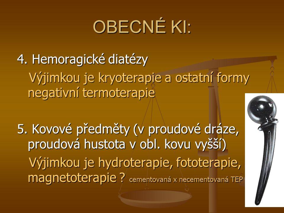 OBECNÉ KI: 4. Hemoragické diatézy Výjimkou je kryoterapie a ostatní formy negativní termoterapie Výjimkou je kryoterapie a ostatní formy negativní ter