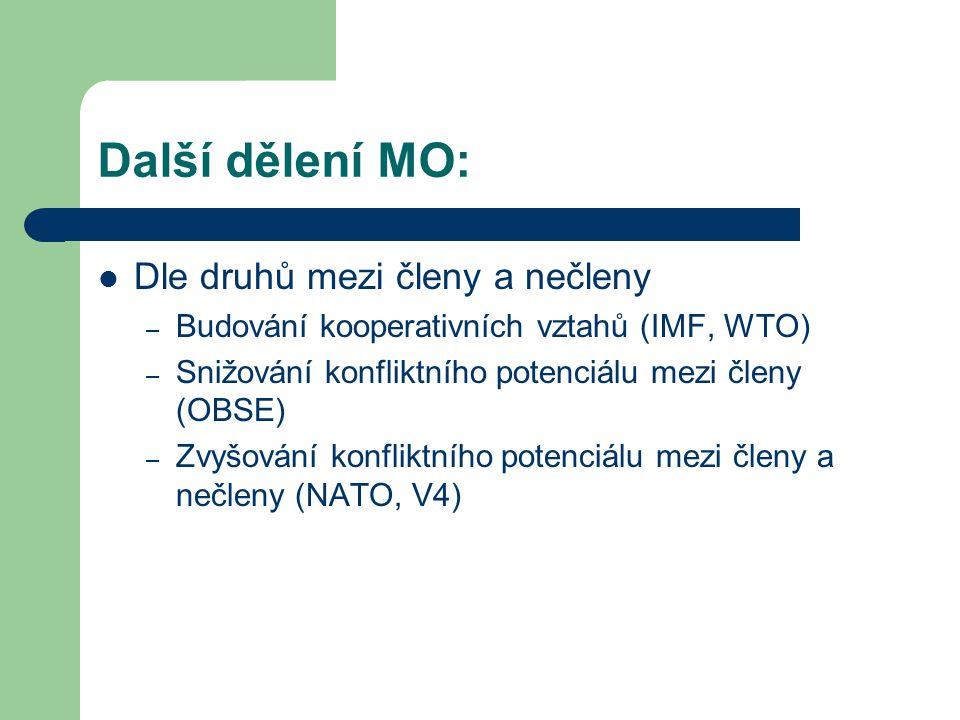 Další dělení MO: Dle druhů mezi členy a nečleny – Budování kooperativních vztahů (IMF, WTO) – Snižování konfliktního potenciálu mezi členy (OBSE) – Zv