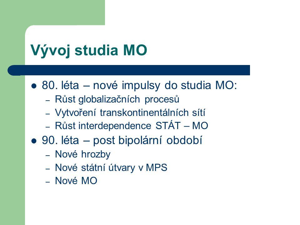 Vývoj studia MO 80. léta – nové impulsy do studia MO: – Růst globalizačních procesů – Vytvoření transkontinentálních sítí – Růst interdependence STÁT