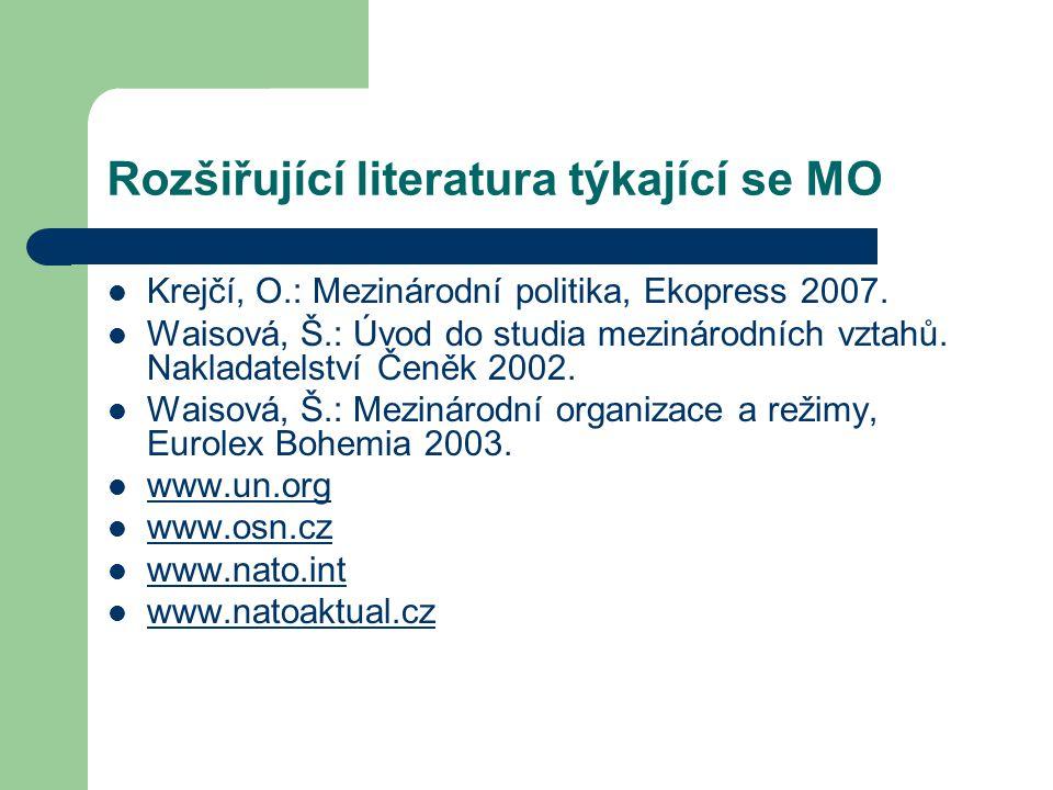 Mezinárodní organizace-studium Studium MO po dlouhou dobu stálo mimo hlavní oblasti a zájem MV - především vývoj MS – Do 2.