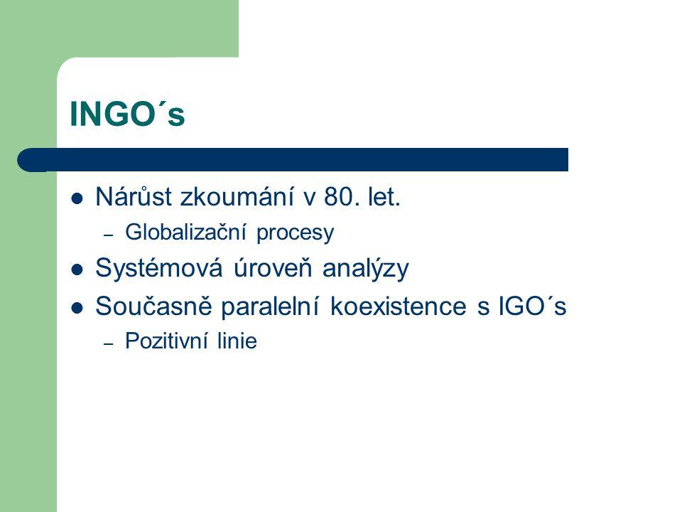 INGO´s Nárůst zkoumání v 80. let. – Globalizační procesy Systémová úroveň analýzy Současně paralelní koexistence s IGO´s – Pozitivní linie