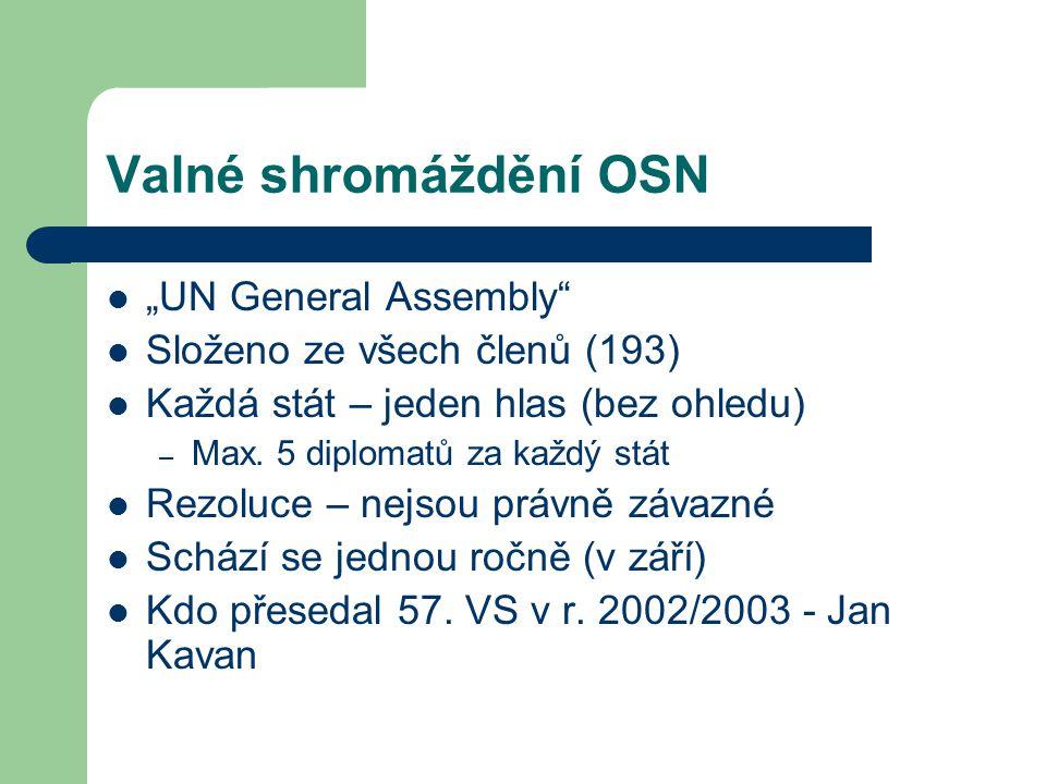 """Valné shromáždění OSN """"UN General Assembly"""" Složeno ze všech členů (193) Každá stát – jeden hlas (bez ohledu) – Max. 5 diplomatů za každý stát Rezoluc"""
