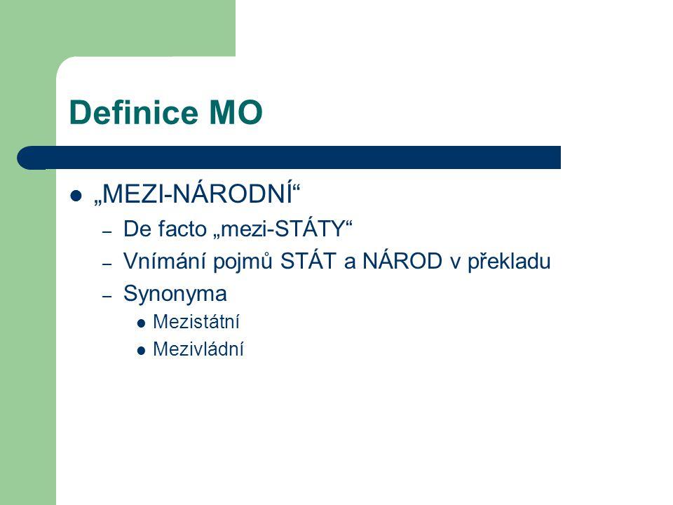 """Definice MO """"MEZI-NÁRODNÍ"""" – De facto """"mezi-STÁTY"""" – Vnímání pojmů STÁT a NÁROD v překladu – Synonyma Mezistátní Mezivládní"""