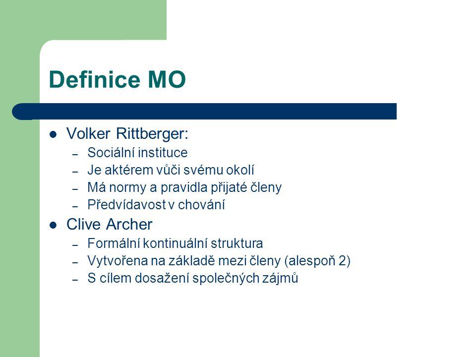 Definice MO Volker Rittberger: – Sociální instituce – Je aktérem vůči svému okolí – Má normy a pravidla přijaté členy – Předvídavost v chování Clive A