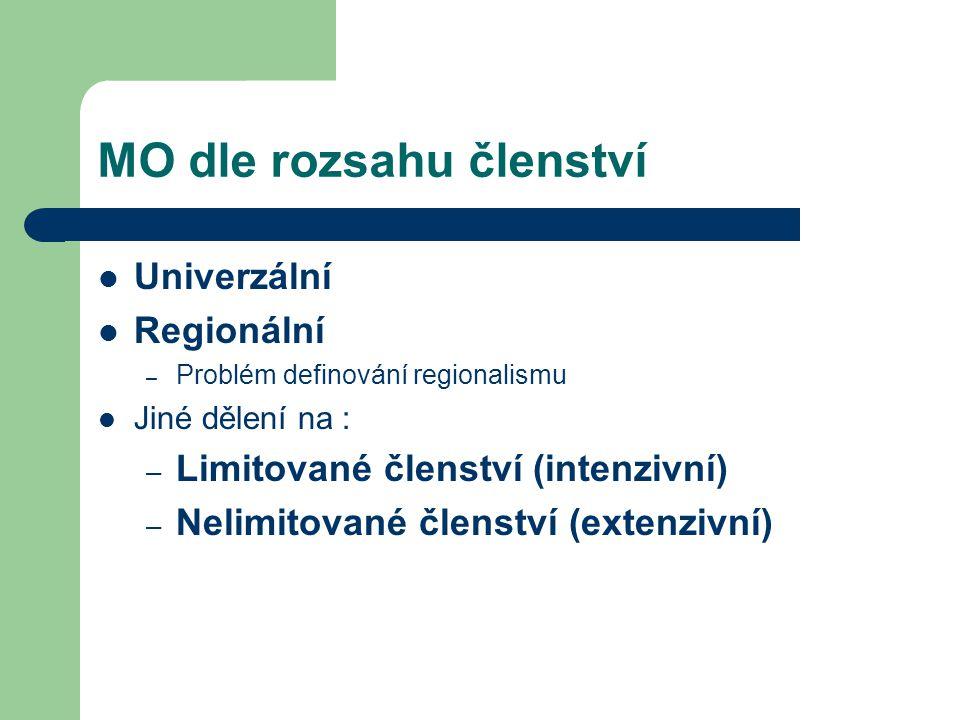 MO dle rozsahu členství Univerzální Regionální – Problém definování regionalismu Jiné dělení na : – Limitované členství (intenzivní) – Nelimitované čl