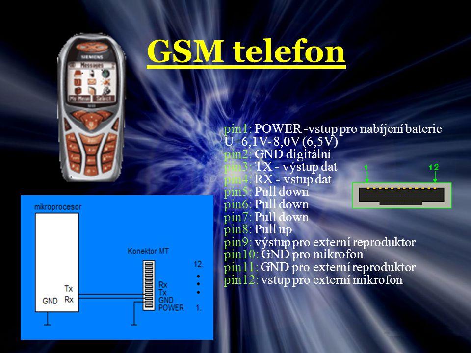 GSM telefon pin1: POWER -vstup pro nabíjení baterie U=6,1V- 8,0V (6,5V) pin2: GND digitální pin3: TX - výstup dat pin4: RX - vstup dat pin5: Pull down