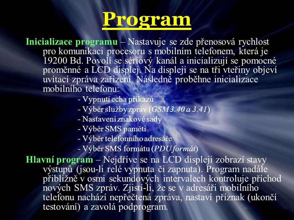 Program Podprogramy : pro zjištění čísla odesílatele SMS zprávy pro vyhodnocení obsahu zprávy SMS a zavolání příslušné akce pro zjištění stavů výstupů relé a zobrazení na LCD displeji pro zobrazení ABOUT zařízení pro informování o příchozí SMS zprávě včetně tel.
