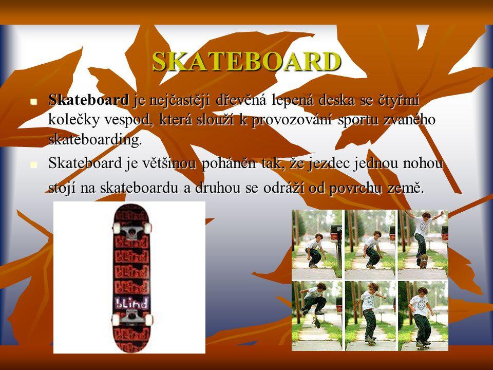SKATEBOARD Skateboard je nejčastěji dřevěná lepená deska se čtyřmi kolečky vespod, která slouží k provozování sportu zvaného skateboarding.