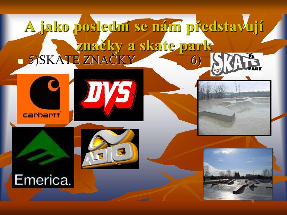 A jako poslední se nám představují značky a skate park 5)SKATE ZNAČKY 6) 5)SKATE ZNAČKY 6)
