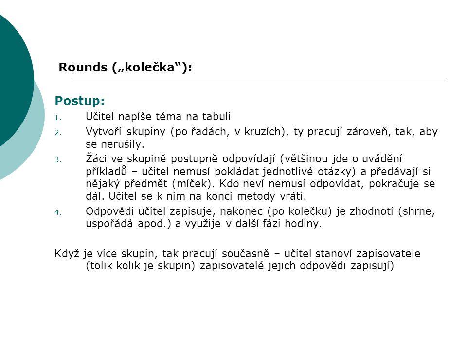"""Rounds (""""kolečka ): Postup: 1.Učitel napíše téma na tabuli 2."""
