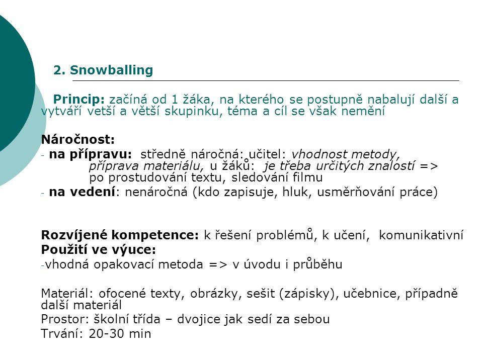 """Snowballing (""""sněhová koule ): Postup: 1.Žáci pracují v lavicích (zůstávají na svých místech) 2."""