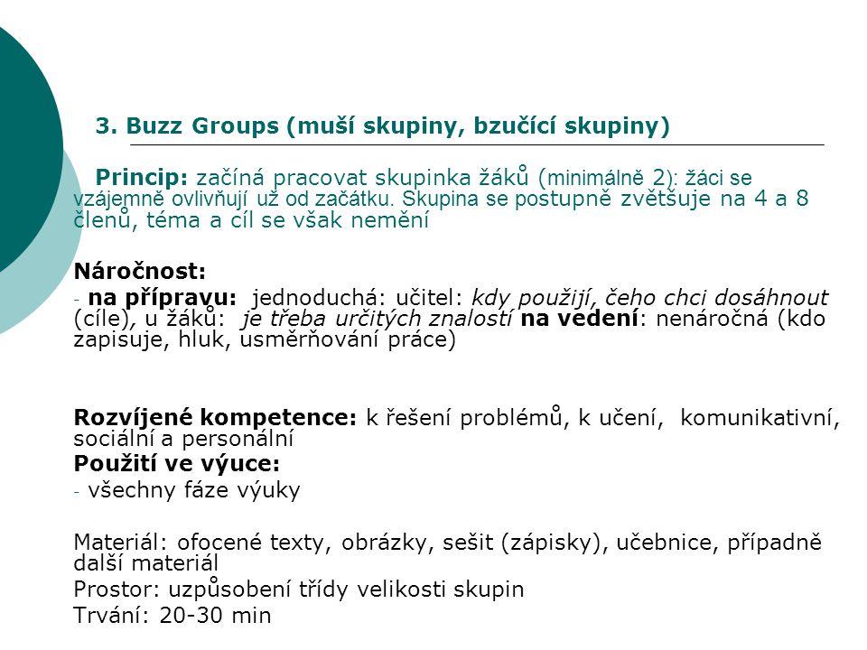 3. Buzz Groups (muší skupiny, bzučící skupiny) Princip: začíná pracovat skupinka žáků ( minimálně 2 ): žáci se vzájemně ovlivňují už od začátku. Skupi