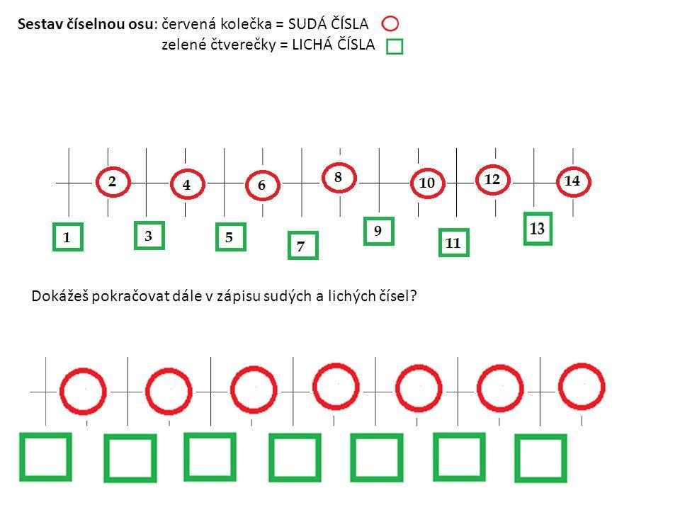 Sestav číselnou osu: červená kolečka = SUDÁ ČÍSLA zelené čtverečky = LICHÁ ČÍSLA Dokážeš pokračovat dále v zápisu sudých a lichých čísel?