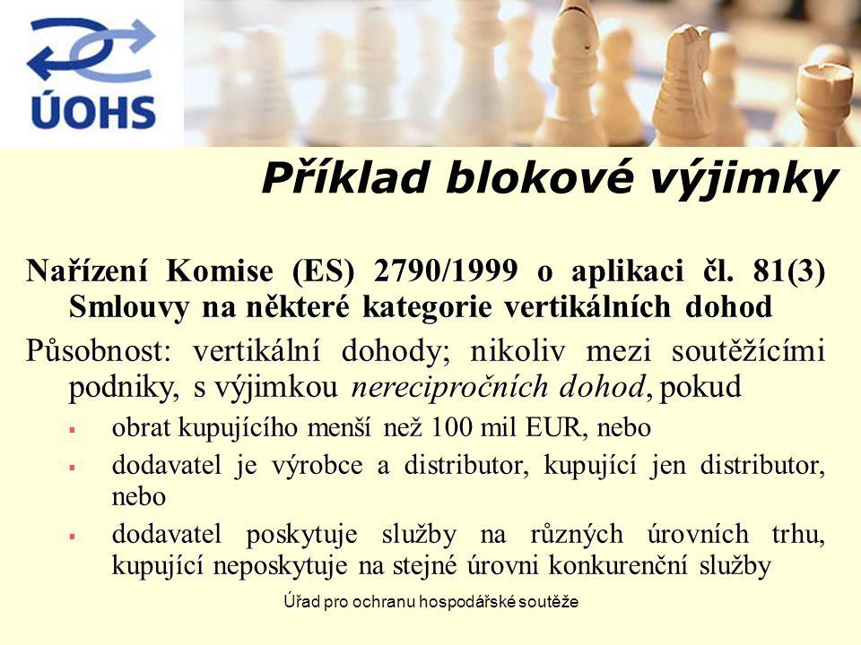 Úřad pro ochranu hospodářské soutěže Příklad blokové výjimky Nařízení Komise (ES) 2790/1999 o aplikaci čl.