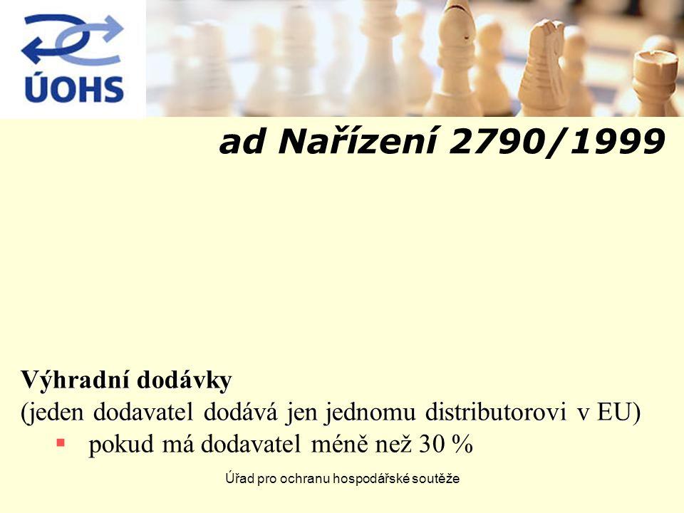 Úřad pro ochranu hospodářské soutěže ad Nařízení 2790/1999 Výhradní dodávky (jeden dodavatel dodává jen jednomu distributorovi v EU)  pokud má dodavatel méně než 30 %