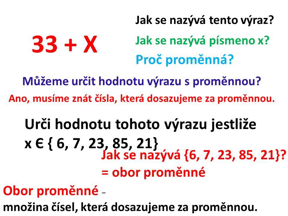 Můžeme určit hodnotu výrazu s proměnnou. 33 + X Jak se nazývá tento výraz.