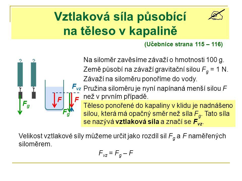 Vztlaková síla působící na těleso v kapalině (Učebnice strana 115 – 116) Na siloměr zavěsíme závaží o hmotnosti 100 g. Země působí na závaží gravitačn