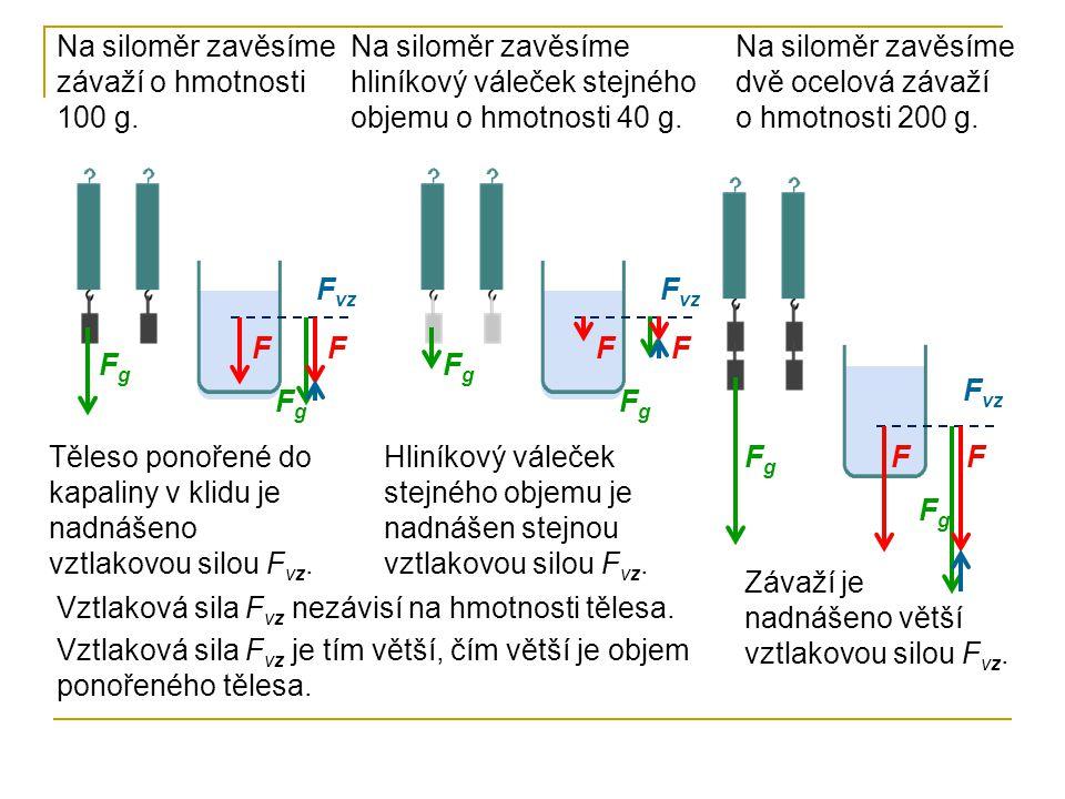 Na siloměr zavěsíme závaží o hmotnosti 100 g. Těleso ponořené do kapaliny v klidu je nadnášeno vztlakovou silou F vz. FgFg FgFg FF F vz FgFg FgFg FF N