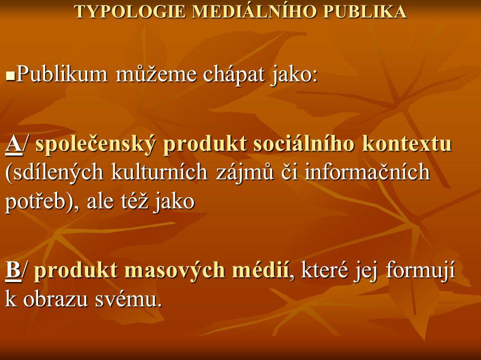 TYPOLOGIE MEDIÁLNÍHO PUBLIKA Publikum můžeme chápat jako: Publikum můžeme chápat jako: A/ společenský produkt sociálního kontextu (sdílených kulturníc